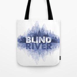 Blind River Trees (blue) Tote Bag