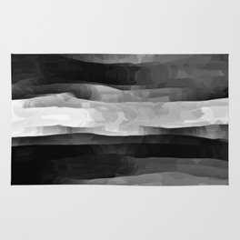 Glowing Smoky Abstract - Black and White Rug