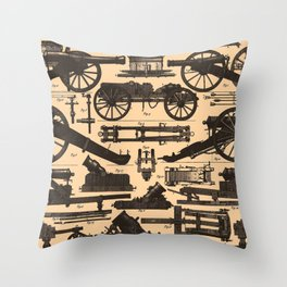 Vintage Illustration of Cannons & Artillery (1907) Throw Pillow