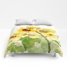 One sunflower watercolor arts Comforters