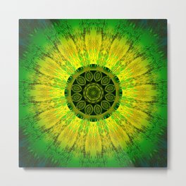 Lemon Lime Mandala Metal Print