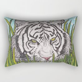 White tiger in wild grass Rectangular Pillow