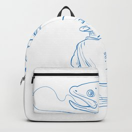 Fly Fisherman Trout Fishing Drawing Backpack