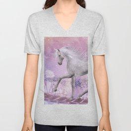 pink unicorn Unisex V-Neck