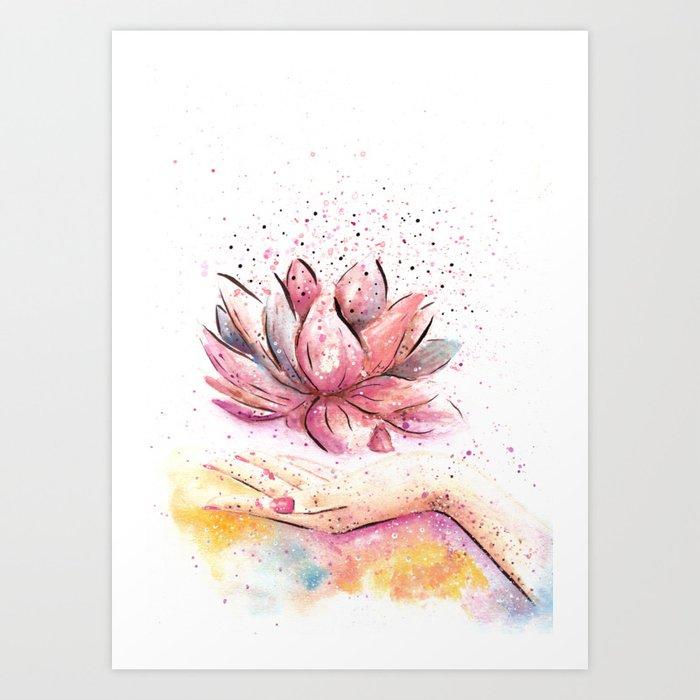 Lotus flower watercolor art art print by aquarellesdemariastore lotus flower watercolor art art print mightylinksfo