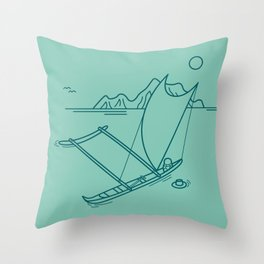 Outrigger Canoe Throw Pillow