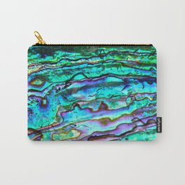 Glowing Aqua Abalone Shell Mother of Pearl Carry-All Pouch