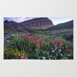 Mt. Timpanogos Wildflowers At Sunset Rug