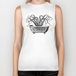 Tentacles in the Tub | Octopus | Black and White Biker Tank