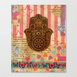 Hearts and Butterfly Hamsa Canvas Print