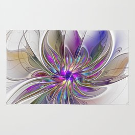Energetic, Abstract And Colorful Fractal Art Flower Rug