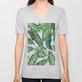 Jungle Leaves, Banana, Monstera #society6 Unisex V-Neck