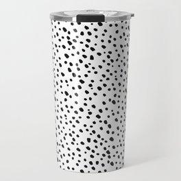 Black Dots on White by Minikuosi Travel Mug