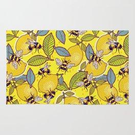 Yellow lemon and bee garden. Rug