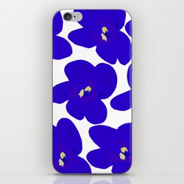 Blue Retro Flowers iPhone Skin