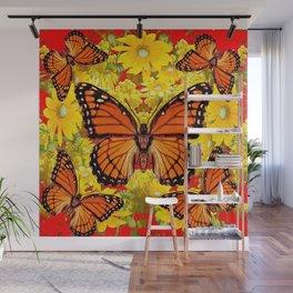 VICEROY BUTTERFLIES & YELLOW FLOWERS RED ART Wall Mural