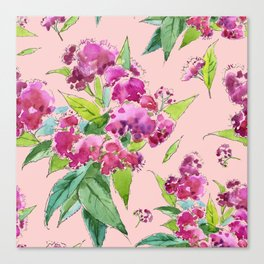 Pattern with pink flowers and leaves (Spiraea) Canvas Print