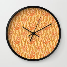Orange Chrysanthemum Auspicious Sayagata Japanese Kimono Pattern Wall Clock