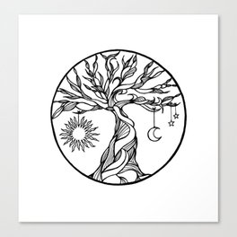 black and white tree of life with hanging sun, moon and stars I Canvas Print