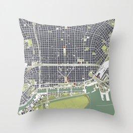 Buenos aires city map engraving Throw Pillow