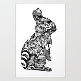 Zentangle Rabbit 2  Art Print