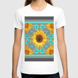 Decorative Yellow Sunflowers & Blue Butterflies Design Grey Art T-shirt