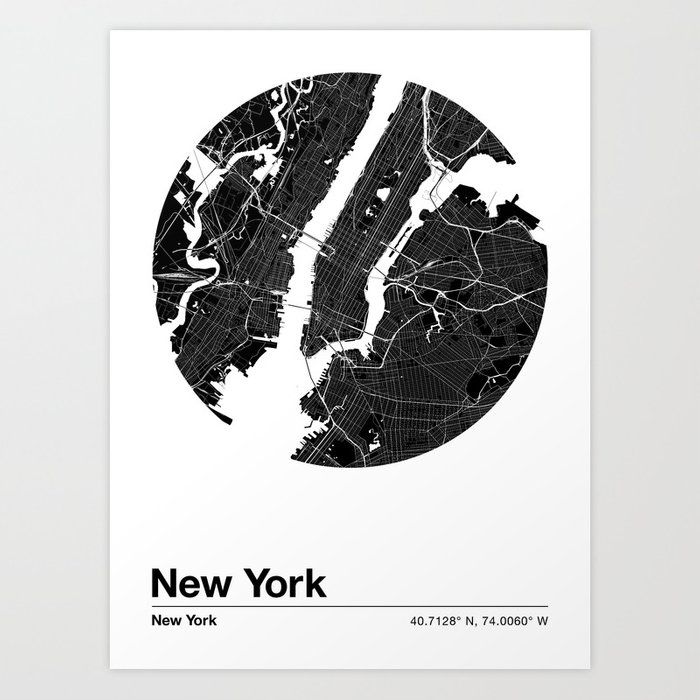 New York City Map: U.S. City Maps Series Art Print by chrisfink