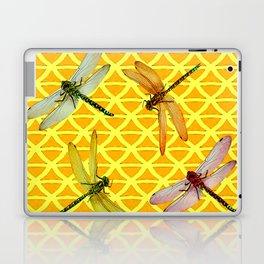 DRAGONFLIES PATTERNED YELLOW-BROWN ORIENTAL SCREEN Laptop & iPad Skin