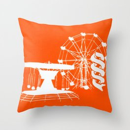 Seaside Fair in Orange Throw Pillow