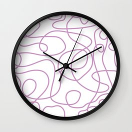 Doodle Line Art | Lavender Purple Lines on White Background Wall Clock