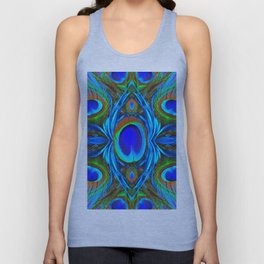 BLUE  PEACOCK EYE FEATHER ABSTRACT Unisex Tank Top