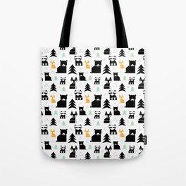 Woodland Animals Geometric Tote Bag