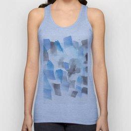 180713 Blue Black Brush Stroke Watercolour Unisex Tank Top