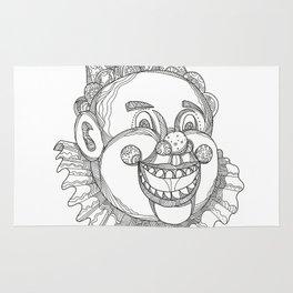 Vintage Circus Clown Head Doodle Rug