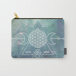 Mandala Flower of Life in Turquoise Stars Carry-All Pouch