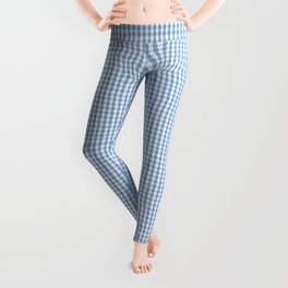 Classic Pale Blue Pastel Gingham Check Leggings