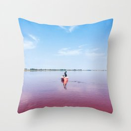 The Pink Lake Print Throw Pillow