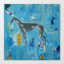 Greyhound Dog Abstract Painting Canvas Print