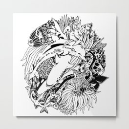 Sea Animals Surreal Doodle Art Metal Print