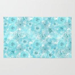 Turquoise aqua flower lace pattern Rug