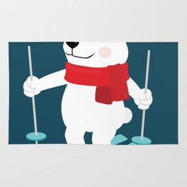 Lets Go Skiing with Mr Polar Bear this Merry Christmas Rug