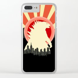 """May Godzilla destroy this home last"" Classic Movie Poster Clear iPhone Case"