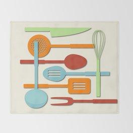 Kitchen Colored Utensil Silhouettes on Cream III Throw Blanket