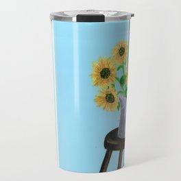Sunflowers on Blues Travel Mug