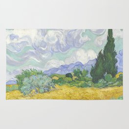 A Wheatfield with Cypresses by Vincent van Gogh Rug