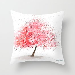 Kwanzan Cherry Tree Throw Pillow