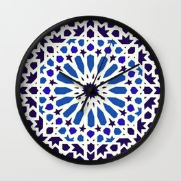 V19 Epic Light Blue Traditional Moroccan Pattern Design . Wall Clock