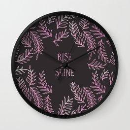 Graphic Art RISE & SHINE | pink Wall Clock