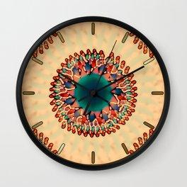 Earthy Starburst Mandala Wall Clock