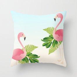 Tropical Flamingos Throw Pillow